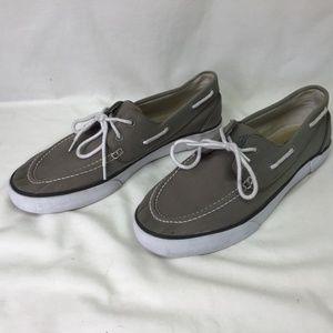 Men's Gray Canvas Deck Boat Shoes 11.5D
